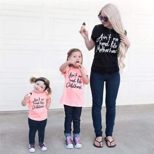 Beiby Bamboo Matching Family Outfits S Mommy and Me Clothes Short Sleeved T-shirt Motherhood and Childhood