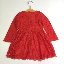 Load image into Gallery viewer, Beiby Bamboo Matching Family Outfits S Mother Daughter long sleeves Red Lace Dress