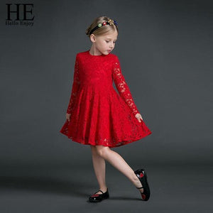 Beiby Bamboo Matching Family Outfits S Mother Daughter long sleeves Red Lace Dress