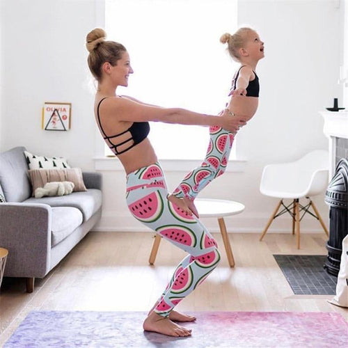 Beiby Bamboo Matching Family Outfits Watermelon / Mom-S Mother Daughter Watermelon Printed Mid Waist Yoga Pants