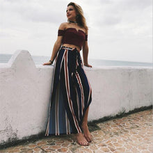 Load image into Gallery viewer, Beiby Bamboo Matching Outfits Cover-Ups striped / L Striped Beach Wear Pants With Open Sides