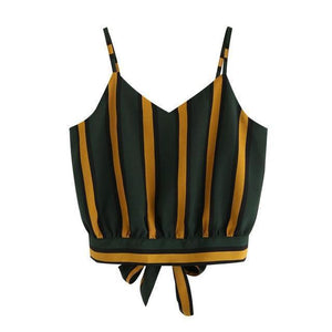Beiby Bamboo Matching Outfits Crop Tops S Women Striped Tie Back Crop Tops, Color - Green