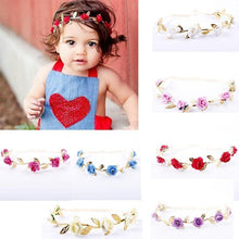 Load image into Gallery viewer, Beiby Bamboo Matching Outfits Hair Accessories White Baby Girl Leaves Flowers Headband