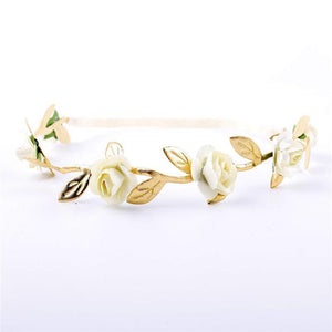 Beiby Bamboo Matching Outfits Hair Accessories White Baby Girl Leaves Flowers Headband
