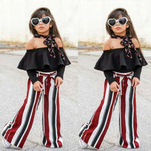 Load image into Gallery viewer, Beiby Bamboo Matching Outfits Kids Clothing Sets 2T Baby Girls Black Ruffles Off Shoulder Tops+Long Striped Wide Leg Pants 2pc Set