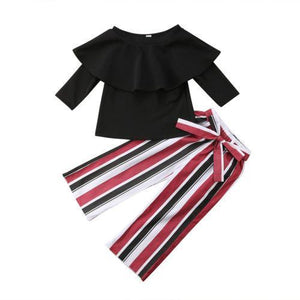 Beiby Bamboo Matching Outfits Kids Clothing Sets 2T Baby Girls Black Ruffles Off Shoulder Tops+Long Striped Wide Leg Pants 2pc Set