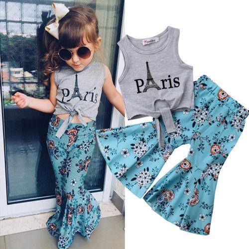 Beiby Bamboo Matching Outfits Kids Clothing Sets 3T Girls Vest Tops Eiffel Tower T-shirt+Wide Leg Floral Pants Summer Outfits