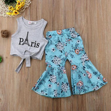 Load image into Gallery viewer, Beiby Bamboo Matching Outfits Kids Clothing Sets 3T Girls Vest Tops Eiffel Tower T-shirt+Wide Leg Floral Pants Summer Outfits