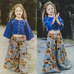 Beiby Bamboo Matching Outfits Kids Pants Flora / 3T Baby Girl Floral Wide Leg Pants