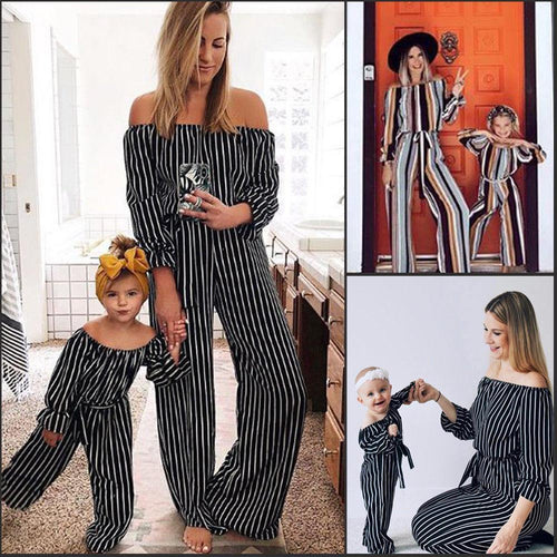Beiby Bamboo Matching Outfits Matching Family Outfits Brown / 120 cm Mother And Daughter Matching Striped off Shoulder Jumpsuits