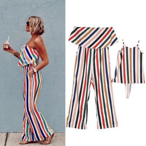 Beiby Bamboo Matching Outfits Matching Family Outfits girl dress / S Summer Fashion Striped Matching Mother Jumpsuit Daughter Dresses