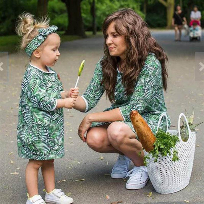 Beiby Bamboo Matching Outfits Matching Family Outfits Green / Women S Mother Daughter Matching Floral Dress Green