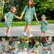 Load image into Gallery viewer, Beiby Bamboo Matching Outfits Matching Family Outfits Green / Women S Mother Daughter Matching Floral Dress Green