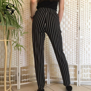 Beiby Bamboo Matching Outfits Pants & Capris Black / XS Elastic Waist Pinstripe Cigarette Pants Black