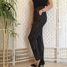 Load image into Gallery viewer, Beiby Bamboo Matching Outfits Pants & Capris Black / XS Elastic Waist Pinstripe Cigarette Pants Black