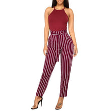 Load image into Gallery viewer, Beiby Bamboo Matching Outfits Pants & Capris S Women High Waist Elastic Waist Striped Casual Pants Red And White Striped