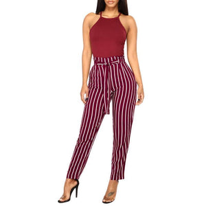 Beiby Bamboo Matching Outfits Pants & Capris S Women High Waist Elastic Waist Striped Casual Pants Red And White Striped