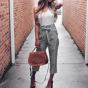 Beiby Bamboo Matching Outfits Pants & Capris S Women High Waist Elastic Waist Striped Casual Pants Sky Blue Striped
