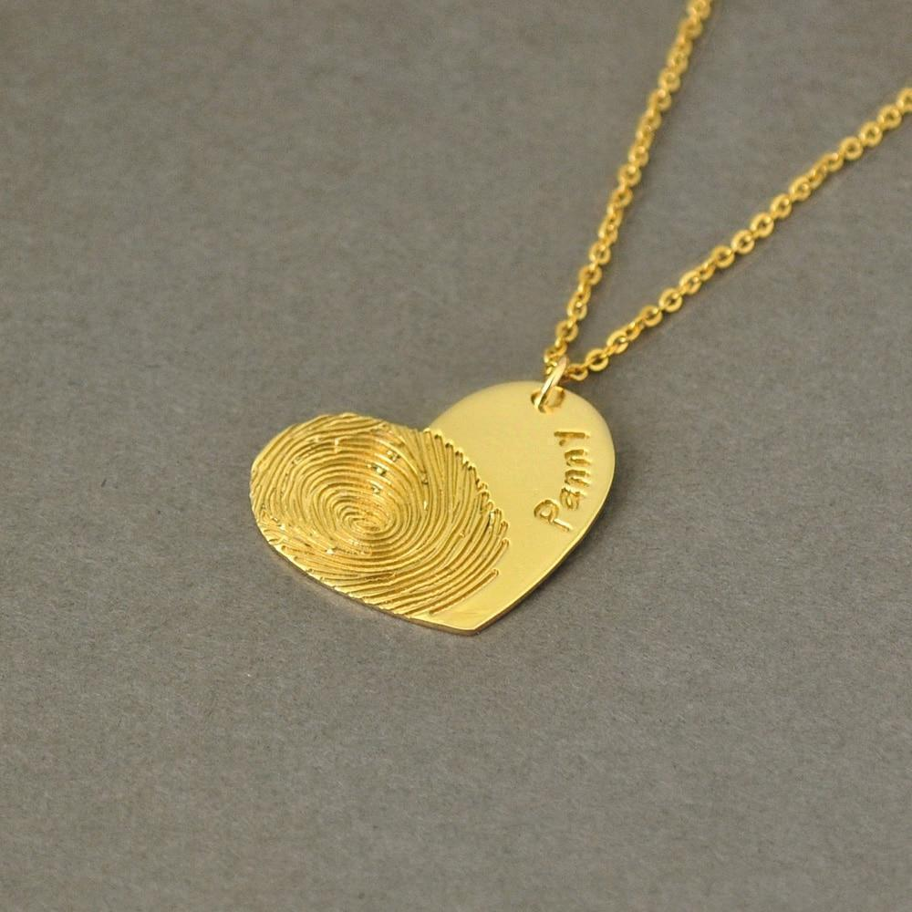 Beiby Bamboo necklace Gold Color / 18 inches Personalized Fingerprint Necklace