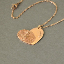Load image into Gallery viewer, Beiby Bamboo necklace Rose Gold Color / 18 inches Personalized Fingerprint Necklace