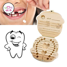 Load image into Gallery viewer, Beiby Bamboo organizer English Boy Wooden Tooth Box Organizer Boys and Girls