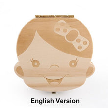Load image into Gallery viewer, Beiby Bamboo organizer English Girl Wooden Tooth Box Organizer Boys and Girls