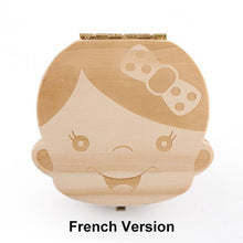 Load image into Gallery viewer, Beiby Bamboo organizer French Girl Wooden Tooth Box Organizer Boys and Girls