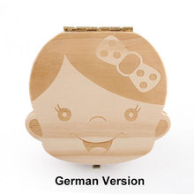 Load image into Gallery viewer, Beiby Bamboo organizer German Girl Wooden Tooth Box Organizer Boys and Girls
