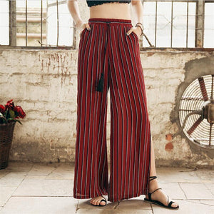 Beiby Bamboo Pants & Capris Red / S Summer Wide Leg Pants For Women
