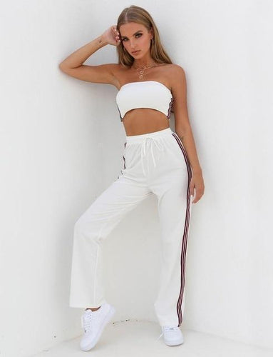 Beiby Bamboo Pants & Capris S 2 Piece Set Crop Top and High Waist Striped Pants, Color - White Set