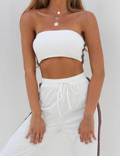 Load image into Gallery viewer, Beiby Bamboo Pants & Capris S 2 Piece Set Crop Top and High Waist Striped Pants, Color - White Set