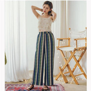 Beiby Bamboo Pants & Capris S Women High Waist Striped Wide Leg Pants, Color - Blue