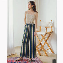 Load image into Gallery viewer, Beiby Bamboo Pants & Capris S Women High Waist Striped Wide Leg Pants, Color - Blue
