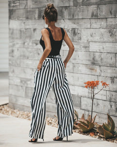 Beiby Bamboo Pants & Capris S Women's High Waist Casual Black& White Striped Long Pants