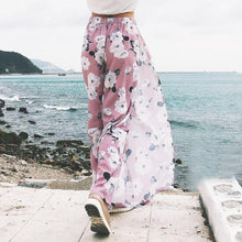 Load image into Gallery viewer, Beiby Bamboo Pants & Capris S Women Sides Open Wide Leg Floral Print Beach Pants