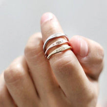 Load image into Gallery viewer, Beiby Bamboo Rings 7 / Gold Color Personalized Stackable Name Ring