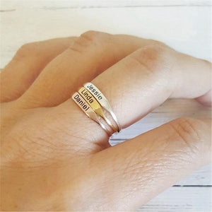Beiby Bamboo Rings 7 / Gold Color Personalized Stackable Name Ring