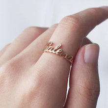 Load image into Gallery viewer, Beiby Bamboo Rings Gold Color Personalized Name Ring