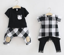 Load image into Gallery viewer, Beiby Bamboo sets Black / 3T Brother-Sister Plaid Matching Set