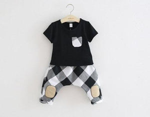 Beiby Bamboo sets Black / 3T Brother-Sister Plaid Matching Set