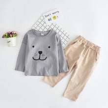 Load image into Gallery viewer, Beiby Bamboo sets gray sets / 2T Baby Bear print T-shirt Pants Set