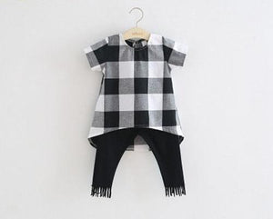 Beiby Bamboo sets White / 3T Brother-Sister Plaid Matching Set
