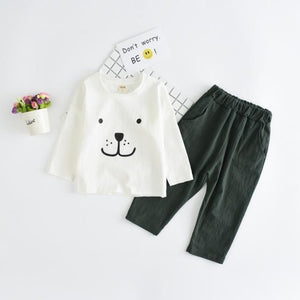 Beiby Bamboo sets white sets / 2T Baby Bear print T-shirt Pants Set