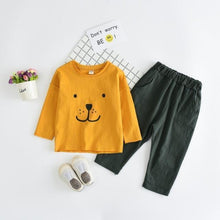 Load image into Gallery viewer, Beiby Bamboo sets yellow sets / 3T Baby Bear print T-shirt Pants Set