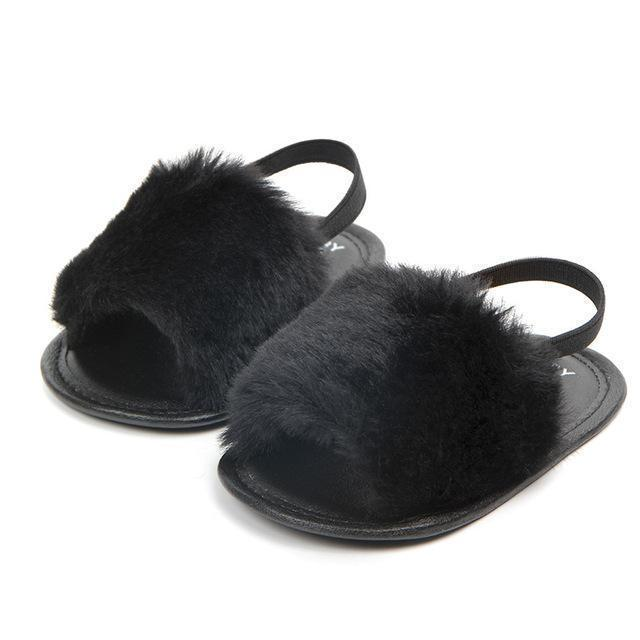 Beiby Bamboo shoes Black / 0-6 Months Baby Girl Soft Anti-slip Fur Loafers