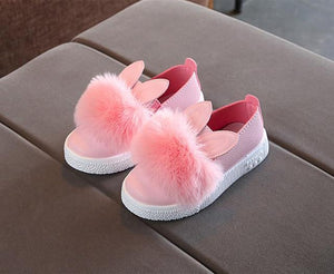 Beiby Bamboo SHOES Pink / 13.5 Toddlers Baby Girls Rabbit Ear Pompom Shoes