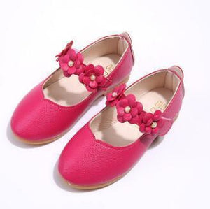 Beiby Bamboo shoes rose red / 11 Flower Leather Shoes