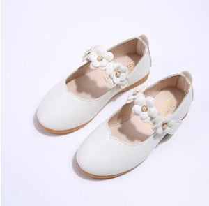 Beiby Bamboo shoes white / 11 Flower Leather Shoes