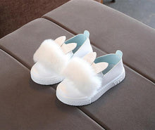 Load image into Gallery viewer, Beiby Bamboo SHOES White / 13.5 Toddlers Baby Girls Rabbit Ear Pompom Shoes