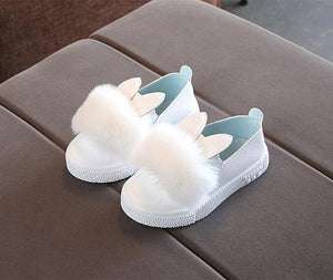 Beiby Bamboo SHOES White / 13.5 Toddlers Baby Girls Rabbit Ear Pompom Shoes